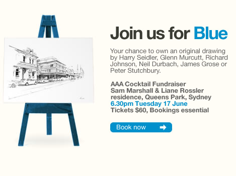 Join us for Blue. AAA Cocktail Fundraiser, Tuesday 17 June, For tickets click here